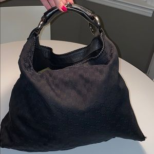 Large Gucci Horsebit Monogram Hobo in Black